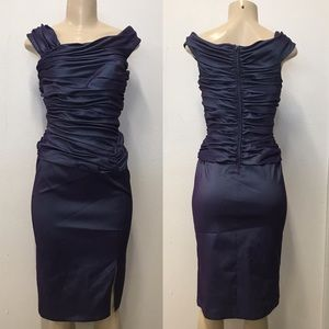 Tadashi Shoji Purple Metallic formal midi dress